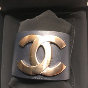 CHANEL Jewelry - Navy Blue Leather Cuff